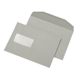 Kuvertierhülle mit Fenster C5 162x229mm innenliegende Seitenklappe nassklebend 80g grau Recycling (PACK=500 STÜCK) Produktbild