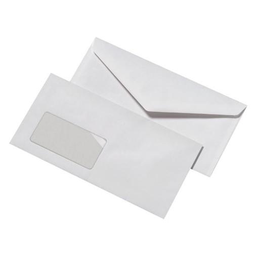 Briefumschlag mit Fenster DIN lang 110x220mm nassklebend 75g weiß mit grauem Innendruck (PACK=1000 STÜCK) Produktbild Front View L