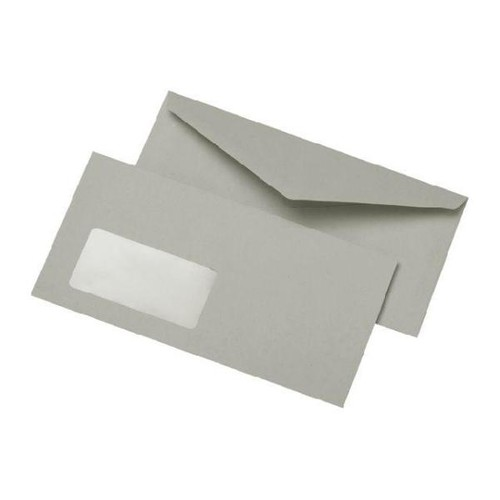 Briefumschlag mit Fenster DIN lang 110x220mm nassklebend 75g grau Recycling (PACK=1000 STÜCK) Produktbild Front View L