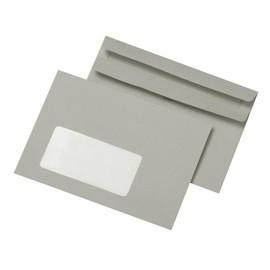 Briefumschlag mit Fenster C6 114x162mm selbstklebend 75g grau Recycling (PACK=1000 STÜCK) Produktbild