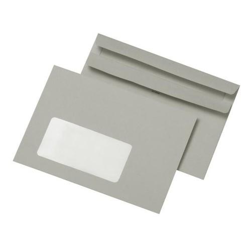 Briefumschlag mit Fenster C6 114x162mm selbstklebend 75g grau Recycling (PACK=1000 STÜCK) Produktbild Front View L
