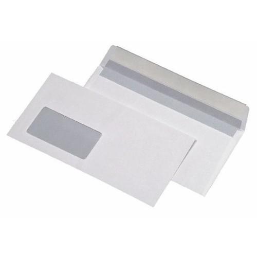 Briefumschlag mit Fenster DIN lang 110x220mm mit Haftklebung 75g weiß mit grauem Innendruck (PACK=1000 STÜCK) Produktbild Front View L
