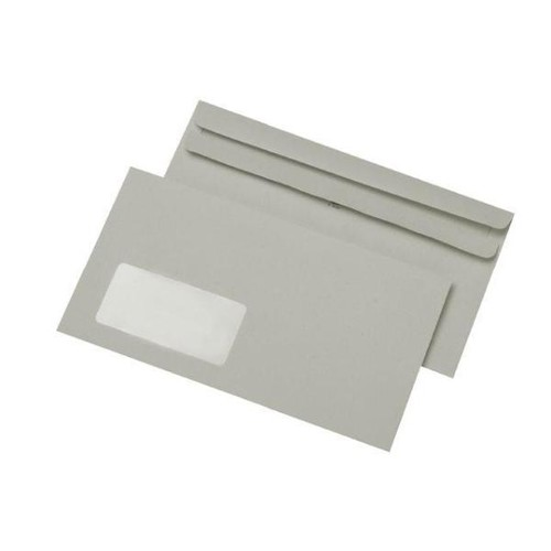 Briefumschlag selbstklebend grau 75g/m2 DIN lang+ 125x229mm / mit Fenster / Material: Recycling-Papier (PACK=1000 STÜCK) Produktbild Front View L