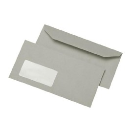 Briefumschlag selbstklebend grau 80g/m2 DIN lang+ 114x229mm / mit Fenster / Material: Recycling-Papier (PACK=1000 STÜCK) Produktbild