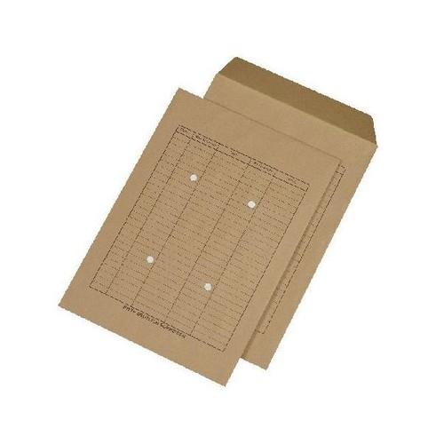 Versandtasche HAUSPOST mit 4 Sichtlöchern und Tabellendruck B4 250x353mm nassklebend 110g braun Natron (PACK=250 STÜCK) Produktbild Front View L