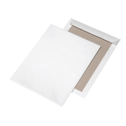 Versandtasche ohne Fenster mit Papprückwand C4 229x324mm mit Haftklebung 120g weiß (PACK=100 STÜCK) Produktbild Front View L