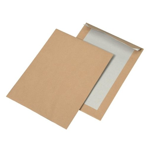 Versandtasche ohne Fenster mit Papprückwand C4 229x324mm mit Haftklebung 110g braun Natron (PACK=100 STÜCK) Produktbild Front View L