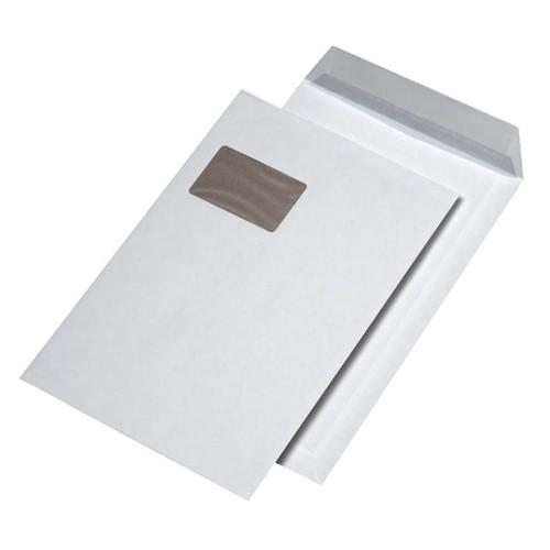 Versandtasche mit Fenster und Papprückwand C4 229x324mm mit Haftklebung 120g weiß (PACK=125 STÜCK) Produktbild Front View L
