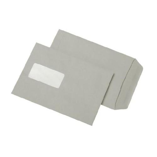 Versandtasche mit Fenster C5 162x229mm selbstklebend 80g grau Recycling (PACK=500 STÜCK) Produktbild Front View L