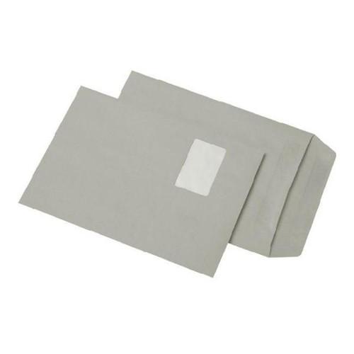 Versandtasche mit Fenster C4 229x324mm selbstklebend 90g grau Recycling (PACK=250 STÜCK) Produktbild Front View L