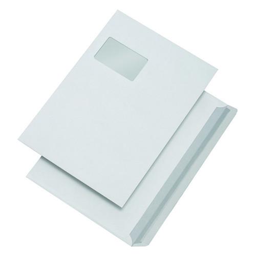 Versandhülle mit Fenster C4 229x324mm mit Haftklebung Öffnung an der breiten Seite 100g weiß (PACK=500 STÜCK) Produktbild Front View L