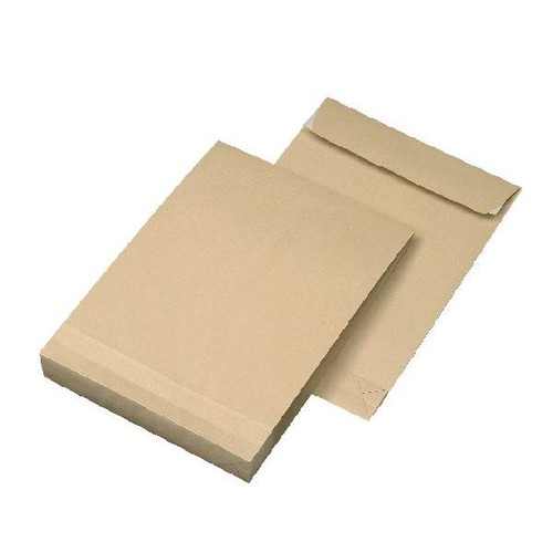 Faltentasche ohne Fenster fadenverstärkt C4 229x324x40mm mit Haftklebung 135g braun/braun (PACK=100 STÜCK) Produktbild