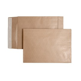Faltentasche ohne Fenster fadenverstärkt B4 250x353x40mm mit Haftklebung 140g braun/braun (PACK=100 STÜCK) Produktbild