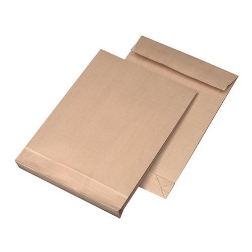 Faltentasche ohne Fenster fadenverstärkt B4 250x353x40mm mit Haftklebung 140g braun/braun (PACK=100 STÜCK) Produktbild Additional View 1 L