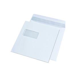 Kuvertierhülle mit Fenster 1/6 DIN 220x220mm innenliegende Seitenklappe nassklebend 100g weiß (PACK=500 STÜCK) Produktbild