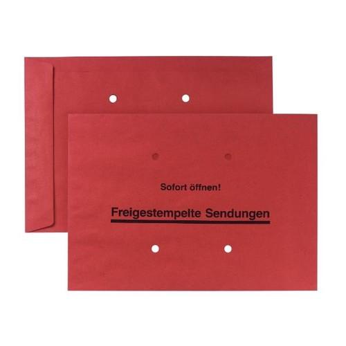 Freistemplertasche mit Druck und Sichtlöchern B4 250x353mm nassklebend 100g rot (PACK=250 STÜCK) Produktbild Front View L