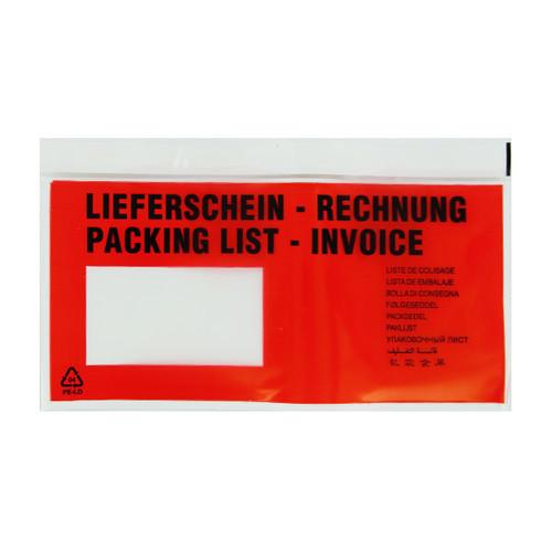 LDPE Begleitpapiertasche DL 240 x 138mm / Lieferschein-Rechnung Premium (PACK=500 STÜCK) Produktbild