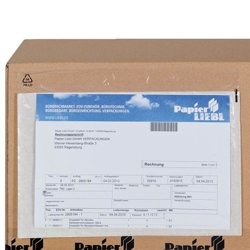 LDPE Begleitpapiertasche transparent C4 340 x 250mm / ohne Druck (PACK=500 STÜCK) Produktbild Additional View 2 L