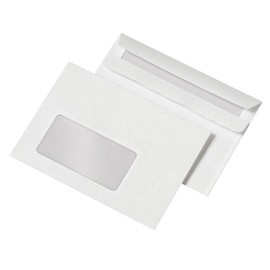 Briefumschlag mit Fenster C6 114x162mm selbstklebend 72g weiß (PACK=25 STÜCK) Produktbild
