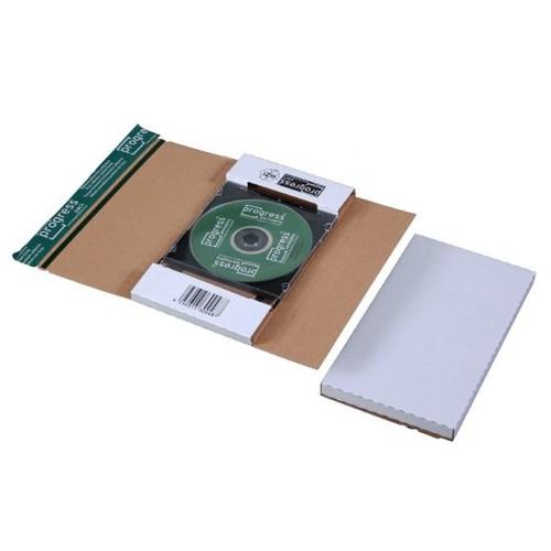 Wellpappe CD/DVD Mailer DL weiß Jewel Case / 225 x 125 x 12mm ohne Fenster Produktbild Front View L