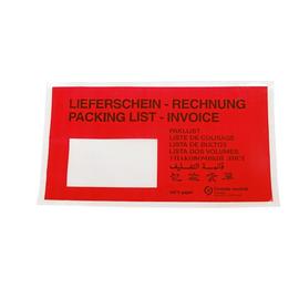 Papier Begleitpapiertasche DL rot 240 x 130mm / Lieferschein-Rechnung (PACK=1000 STÜCK) Produktbild