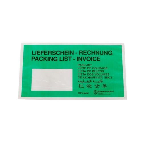 Papier Begleitpapiertasche DL grün 240 x 130mm / Lieferschein-Rechnung (PACK=1000 STÜCK) Produktbild Front View L