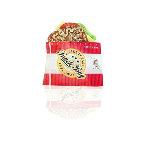 Snack Bag mit PET Folie fettdicht klein 12,5x18cm 40g Neutraldruck rot (PACK=1000 STÜCK) Produktbild Front View L