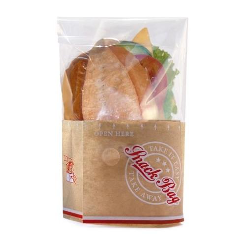 Snack Bag mit PET Folie fettdicht klein 12,5x18cm 40g Neutraldruck braun (PACK=1000 STÜCK) Produktbild Front View L