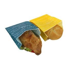 Snackbeutel Pergament mmmhh 12x6x13cm gelb und blau (PACK=2000 STÜCK) Produktbild