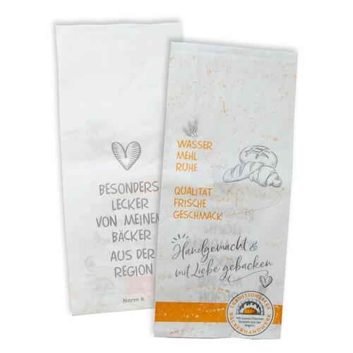 Faltenbeutel Bäckerhandwerk Norm 6 20x8,5x45cm weiß 40g (PACK=500 STÜCK) Produktbild Front View L