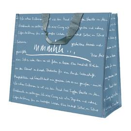 rPET Non Woven Recycling Take away Tasche mit zwei langen Henkeln mmmhh 33x20x23cm taubenblau (KTN=50 STÜCK) Produktbild