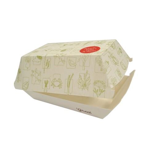 Pommesbox mit Clamshell-Deckel XS Greet 55x110x65mm / weiß (KTN=1000 STÜCK) Produktbild Front View L