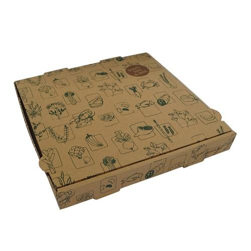Pizzakarton Neutraldruck Greet 29x29x4cm braun (PACK=100 STÜCK) Produktbild Front View L