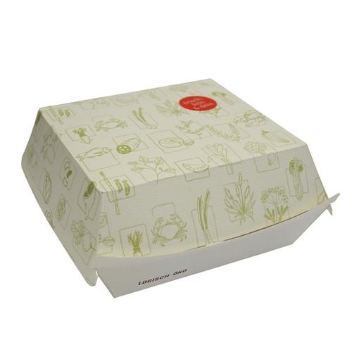 Burgerbox 3 mit Clamshell-Deckel XL Greet 145x133x85mm / weiß (KTN=300 STÜCK) Produktbild Front View L