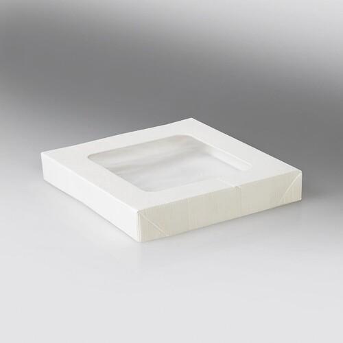 Deckel mit PLA Fenster für Snackbox Umami 1370+2370ml / 178x178x25mm / weiß (KTN=200 STÜCK) Produktbild Front View L