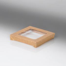 Deckel mit PLA Fenster für Snackbox Umami 1370+2370ml / 178x178x25mm / braun (KTN=200 STÜCK) Produktbild