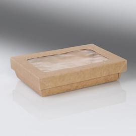 Deckel mit PLA Fenster für Snackbox Umami 1350ml / 220x150x25mm / braun (KTN=200 STÜCK) Produktbild