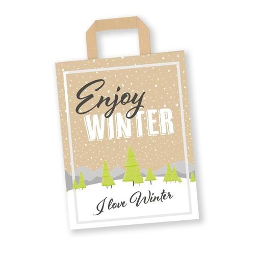 Papiertragetaschen Enjoy Winter 22+10x28cm / 70g / braun Kraft / mit Flachhenkel (KTN=250 STÜCK) Produktbild Front View L