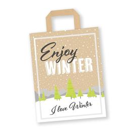 Papiertragetasche Enjoy Winter 32+17x45cm / 80g / braun Kraft / mit Flachhenkel (KTN=250 STÜCK) Produktbild