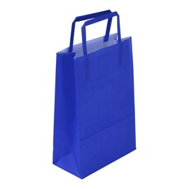 """Papiertragetaschen """"Standard-Color"""" 180+80x250mm 80g blau mit Flachhenkel (KTN=250 STÜCK) Produktbild"""
