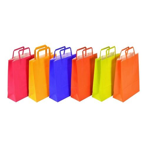 """Papiertragetaschen """"Standard-Color"""" 180+80x250mm 80g orange mit Flachhenkel (KTN=250 STÜCK) Produktbild Additional View 1 L"""