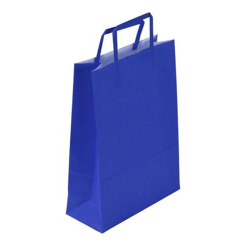 """Papiertragetaschen """"Standard-Color"""" 230+110x320mm 100g blau mit Flachhenkel (KTN=250 STÜCK) Produktbild"""