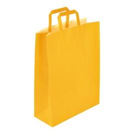 """Papiertragetaschen """"Standard-Color"""" 320+130x420mm 100g gelb mit Flachhenkel (KTN=250 STÜCK) Produktbild"""
