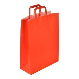 "Papiertragetaschen ""Standard-Color"" 320+130x420mm 100g rot mit Flachhenkel (KTN=250 STÜCK) Produktbild"