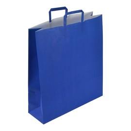 """Papiertragetaschen """"Standard-Color"""" 440+140x500mm 110g blau mit Flachhenkel (KTN=250 STÜCK) Produktbild"""