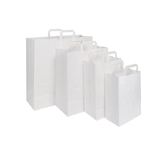 Papiertragetaschen 22x11x28cm 70g weiß Papierflachhenkel (KTN=250 STÜCK) Produktbild Additional View 1 L
