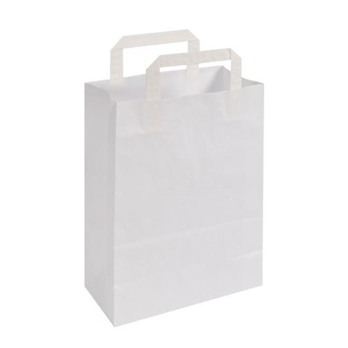 Papiertragetaschen 22x11x28cm 70g weiß Papierflachhenkel (KTN=250 STÜCK) Produktbild