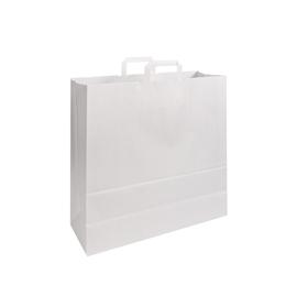 Papiertragetaschen 46x17x47cm 100g weiß Papierflachhenkel (KTN=200 STÜCK) Produktbild