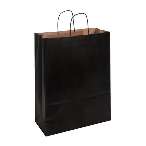 Papiertragetaschen Toptwist 32x14x42cm 100g Kraftpapier schwarz Papierkordel (KTN=150 STÜCK) Produktbild Front View L