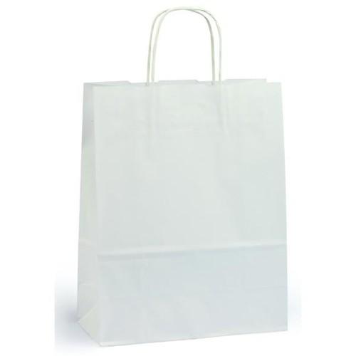 Papiertragetaschen Toptwist 24x11x31cm 100g Kraftpapier weiß Papierkordel (KTN=150 STÜCK) Produktbild Front View L